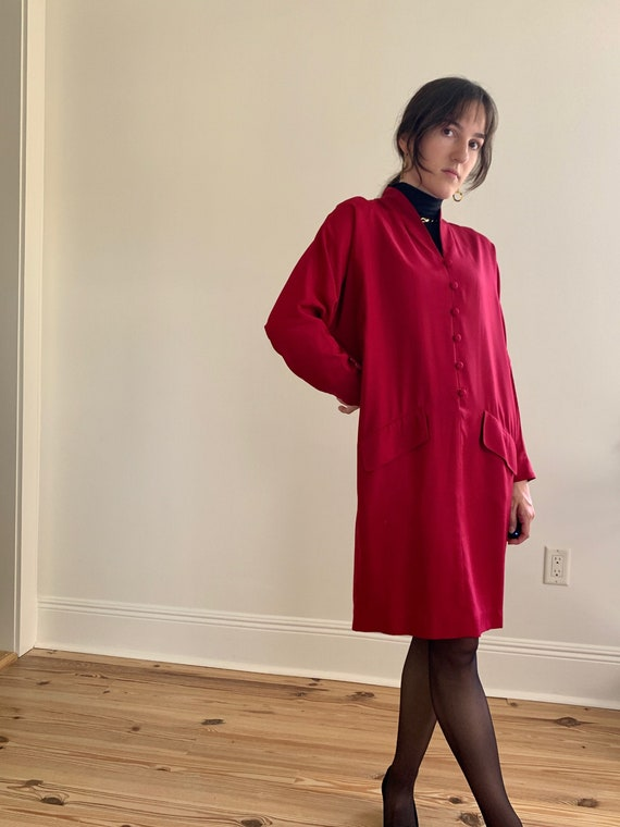 1990s Silk/Wool Cherry Red Button Down Dolman Slee