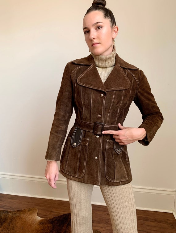 1970s Rare Chocolate Brown Suede Belted Jacket