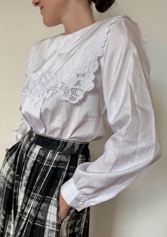 1980s Lace-Trimmed Bib Collar Blouse