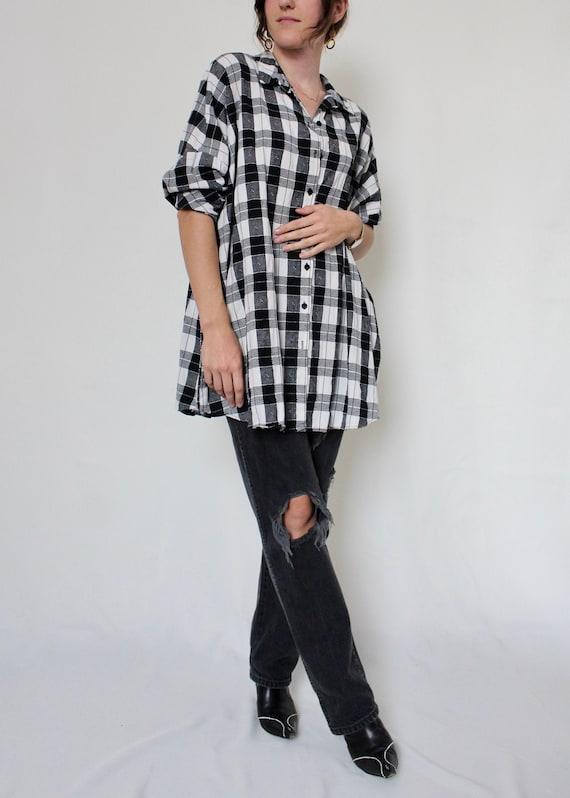 1990s Oversized Checkered Painters Shirt