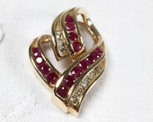 Alwand Vahan 14K gold abstract heart pendant with rubies and diamonds