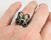 Zuni butterfly ring, sterling silver with turquoise, mother of pearl, coral, and onyx, size 6.75, 1970s, EBK