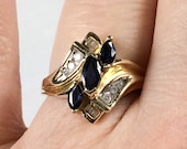 14K gold sapphire and diamond ring, size 6 3/4