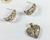 10K white and yellow gold cut filigree pendant and earrings set, heart pendant, leaf design