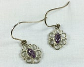 Filigree sterling silver and amethyst earrings