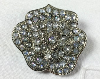 Vintage silver tone cabbage rose brooch with opalescent rhinestones, 1980s