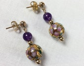 Rare gold raised cloisonné earrings, pink, green, and gold raised cloisonné earrings with amethyst beads, 14k gold fill studs