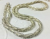 Unusual vintage silver tone criss cross chain