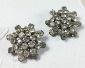 Vintage rhinestone earrings, clip on, 8 point pavé star
