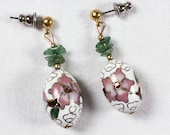 Vintage cloisonné cherry blossom bead earrings with aventurine chips, white enamel oval with pink flowers and green stone chips