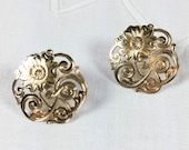 Gold plate floral filigree stud earrings, openwork earrings with floral design