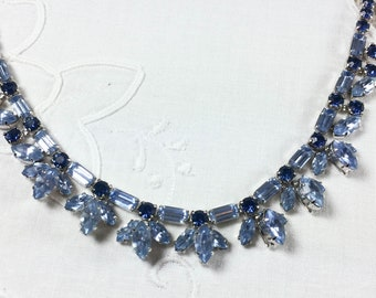 Vintage signed Weiss two-tone blue rhinestone necklace, adjustable length, 3 dimensional drops