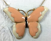 Peach and ecru enamel butterfly pendant on 14 inch gold fill chain - option to switch to longer chain