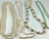 LOT of faux pearl necklaces, vintage to modern, varying lengths and colors