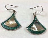 Mexican abalone and sterling silver fan-shaped earrings
