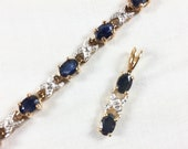 Gold vermeil and sapphire tennis bracelet and pendant set, vermeil tennis bracelet and pendant with sapphires, gold over sterling silver