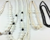 LOT of vintage necklaces, costume jewelry, black and white
