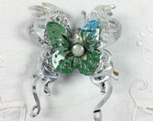 Large layered die cut  butterfly brooch, silver and green butterfly brooch