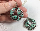 Silver tone butterfly earrings with turquoise enamel, silver and turquoise butterfly dangle earrings
