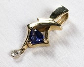 14K gold tanzanite and diamond pendant, 1990s