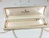 Trifari 15.25 inch 8 mm faux pearl choker with rhinestone clasp in original box