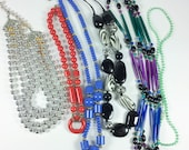 LOT of vintage to modern necklaces, costume jewelry, blue, red, black, white, silver