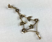 Delicate late Victorian 14K gold pendant with seed pearls