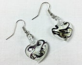 Vintage lampwork glass heart earrings, black and white art glass heart earrings, black and white swirl glass hearts