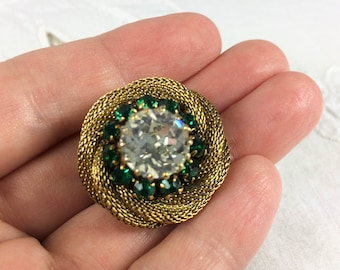 Vintage gold tone mesh and Austrian crystal brooch, marked Austria