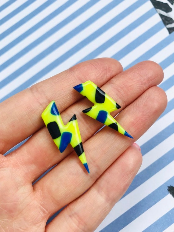 Neon Yellow Lightning Bolt Stud Earrings Polymer Clay Etsy