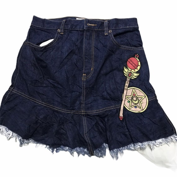 Sailor moon meets gu patches denim skirt