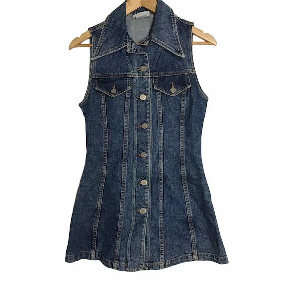 Nada nuff sleeveless button denim dress