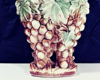 Vintage McCoy art pottery grape cluster with vine leaves table vase 1950s