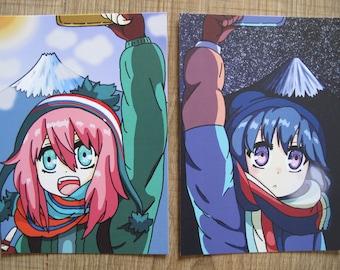 Cute postcard print inspired by YuruCamp Kagamihara Nadeshiko or Shima Rin