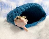 Cuddle Cave - Winter - (Mountain Shadow) - Handmade Crochet Cave, Hide For Reptiles, Geckos