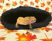 Cuddle Cave - Halloween - (Midnight Black) - Handmade Crochet Cave, Hide For Reptiles, Geckos