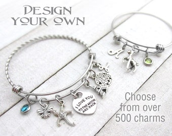 6fc79a9b3 CUSTOM CHARM BRACELET, Design Your Own, Choose Your Charms, Choose Your  Birthstone, Customize Your Bracelet, Gifts for Her