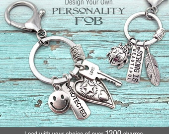 DESIGN A KEY CHAIN, Personality Fob, Purse Charm, Backpack Charm, Gifts For Her, Lobster Claw, Keyring, Small Gift, Personalized Gifts