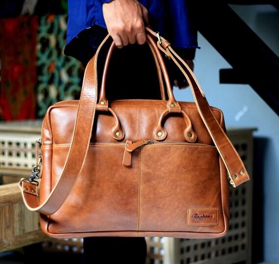 leather briefcase vintage Kompany leather laptop bag men and women on darkbrown crazy horse leather laptop bag