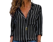 Womens Long Sleeve Loose Blouse Casual Tops Ladies V-neck Button-up Shirt