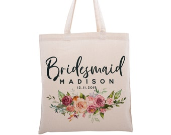 Personalised Mother of the Groom Name Date Shoulder Tote Bag Wedding Engagement