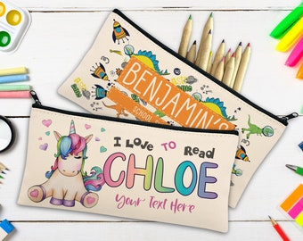 Personalized Pencil Case for Girls, Boys w/Name Customized Student/Kids Pencils Pouch/Box Gift Custom Back to School Supplies Pen Cases