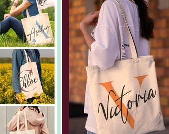 Personalized Initial Tote Bag for Everyday Use Initial Bachelorette Party Customized Bridesmaid Bride Maid of Honor Wedding Birthday Gift
