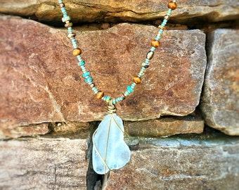 db3db8d9b77f4 Sea Glass Jewelry, Beaded Necklace, Pendant Necklace, Festival Jewelry,  Bohemian Jewelry, Beach Jewelry, Vacation Jewelry, St Barts