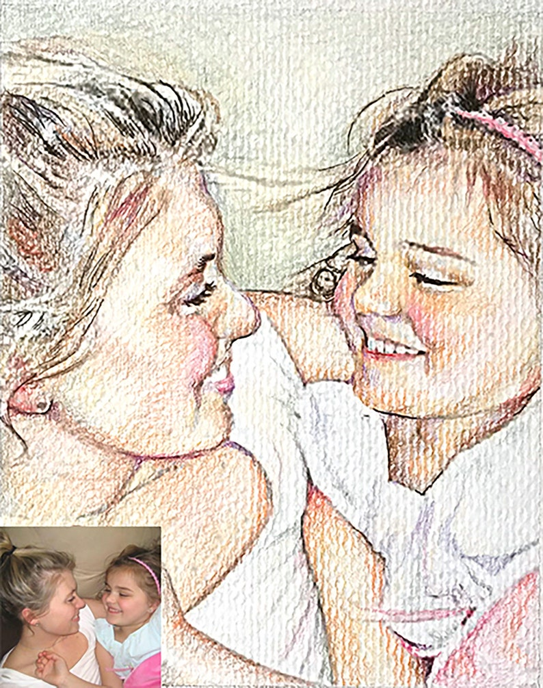 3+ people Colored Pencil and Graphite Drawings Prices vary per sizestyle Custom Family Portrait Drawing from Photograph