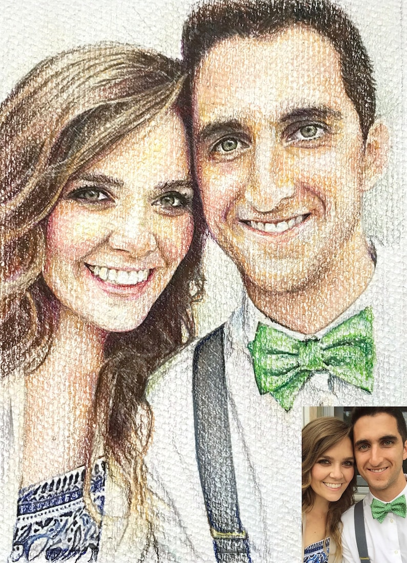 Custom portrait drawing faces only 1 2 people colored pencil and graphite drawings prices vary per size style