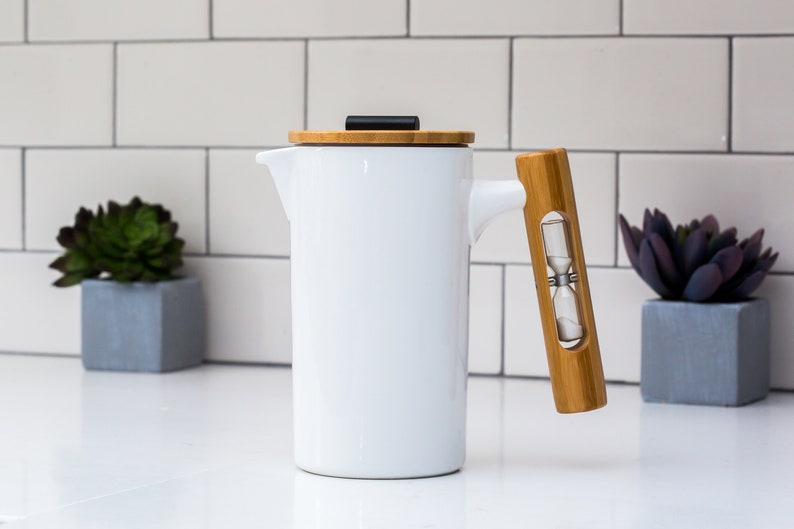 French Press Coffee Maker With Hourglass by StramperPress White