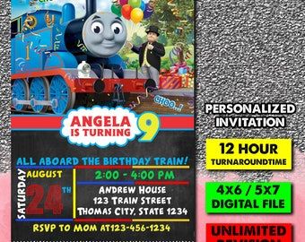 Thomas Train Invitation Birthday Printable Party Invite Personalized The