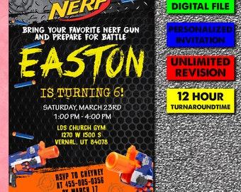 Nerf War Invite Etsy