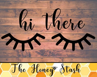 Hi There Eyelashes SVG Cut File for Cricut, Instant Download